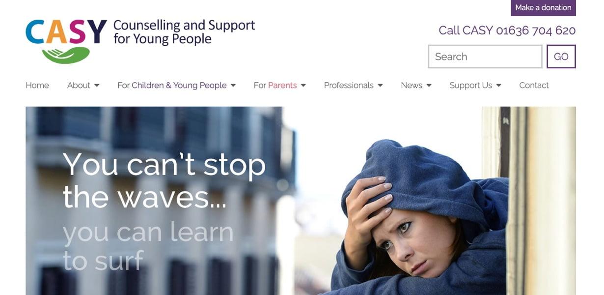 counsellor web design for CASY, newark